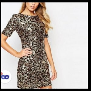 French Connection Leopard sequin dress